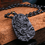 Natural Black Obsidian Dragon Necklace