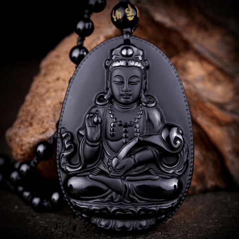 Guan Yin Natural Black Obsidian Buddha Necklace