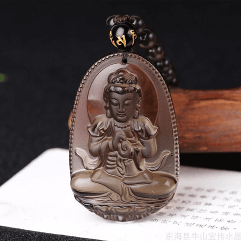 Natural Ice Black Obsidian Buddha Necklace