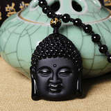 Obsidian Natural Volcanic Lava Buddha Head Necklace