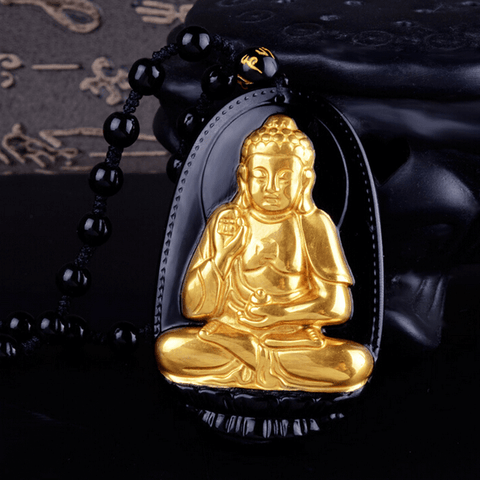 18K Gold Plated Buddha Carved Obsidian Necklace