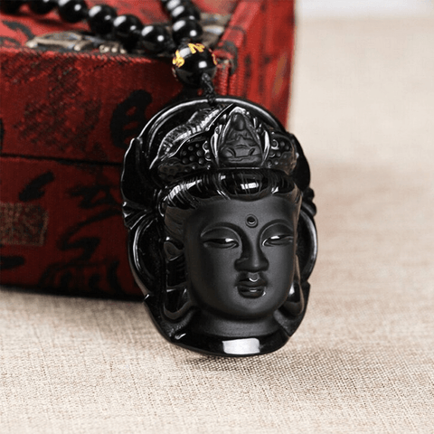 Quan Yin Natural Obsidian Necklace