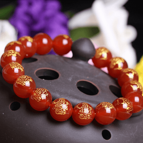 Red Agate Gold Carved Buddha Bracelet