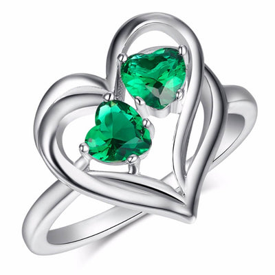 May Birthstone Hearts Ring