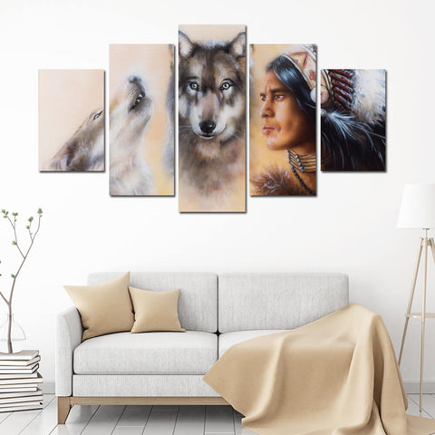 Native American Wolfs Canvas