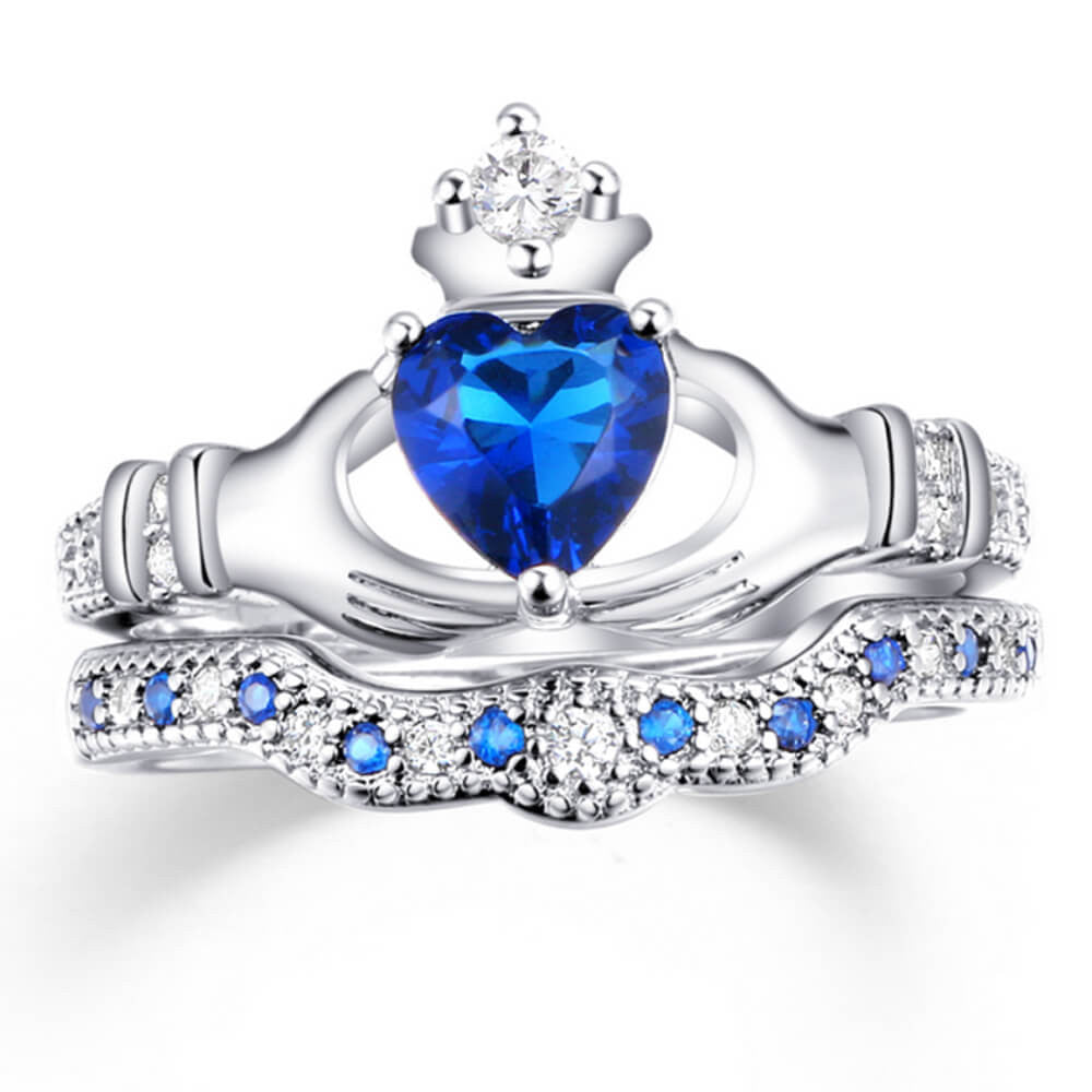 December Birthstone Crowned Heart Ring - Fancota