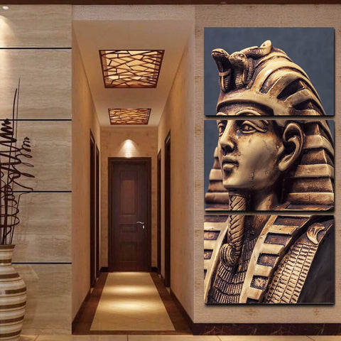 Tutankhamun Stone Head Canvas