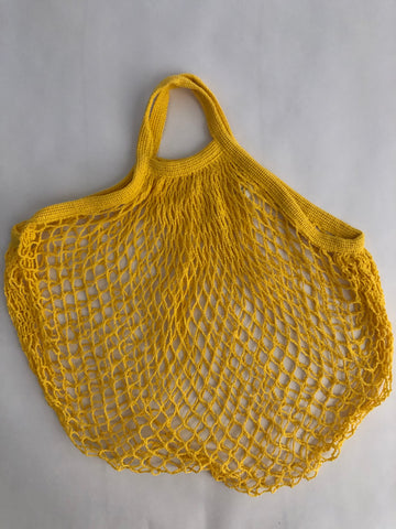 Reusable Cotton Bags - Yellow - Cotton String Bag-Short Handle