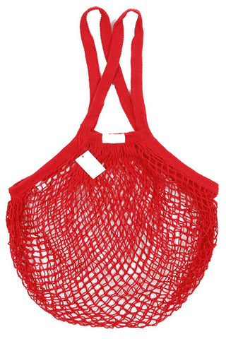 Reusable Cotton Bags - Red - Cotton String Bag - Long Handle