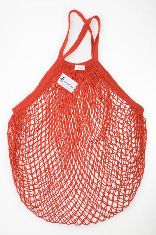 Reusable Cotton Bags - Red - Cotton String Bag - Short Handle