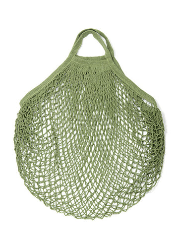 Reusable Cotton Bags - Green- Cotton String Bag-Short Handle