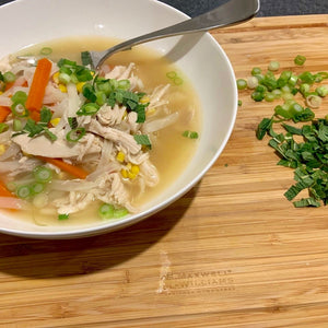 Homemade Chicken Broth Thai Noodle Soup