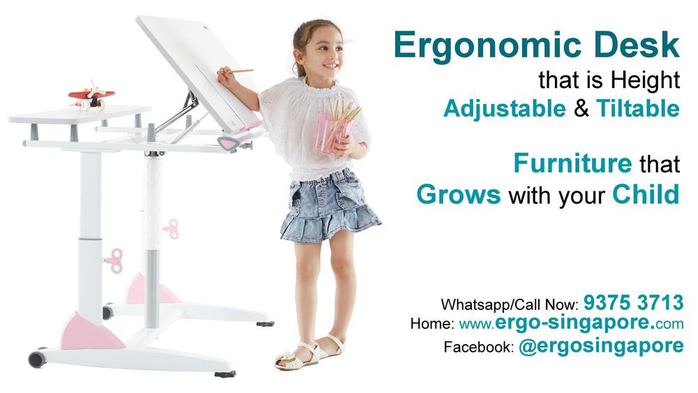 Ergonomically designed adjustable Desk for Children to Teens and Adults