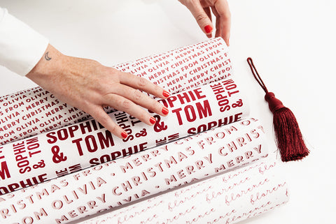 Personalised Letterpress Stamp Wrapping Paper