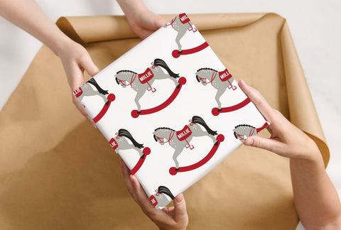 Personalised Christmas Rocking Horse Wrapping Paper