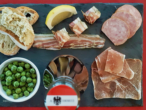 Wasabi Peas, Artichoke Spread & Cured Meats with Gruener Veltliner