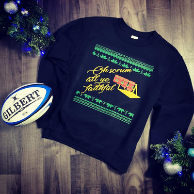 Unisex Scrum All Ye Faithful Rugby Christmas Jumper - First XV rugbystuff.com
