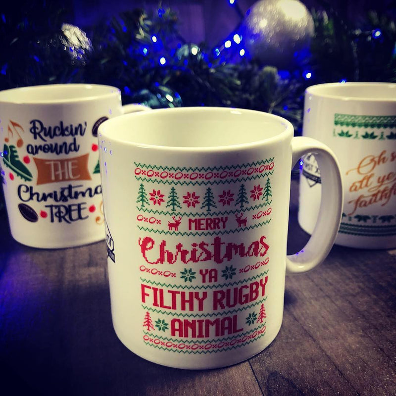 Ruckin' Around The Christmas Tree Rugby Mug - First XV rugbystuff.com