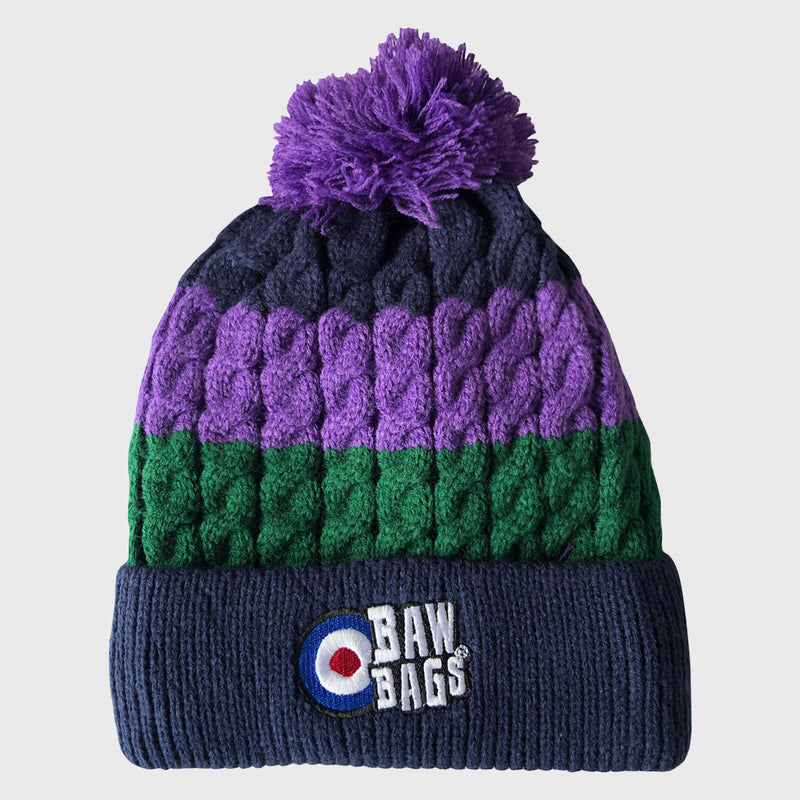 Premium Cable Knit Bobble Beanie Hat Navy/Green/Purple
