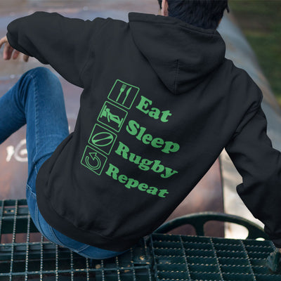 Eat Sleep Rugby Repeat Hoody - First XV rugbystuff.com