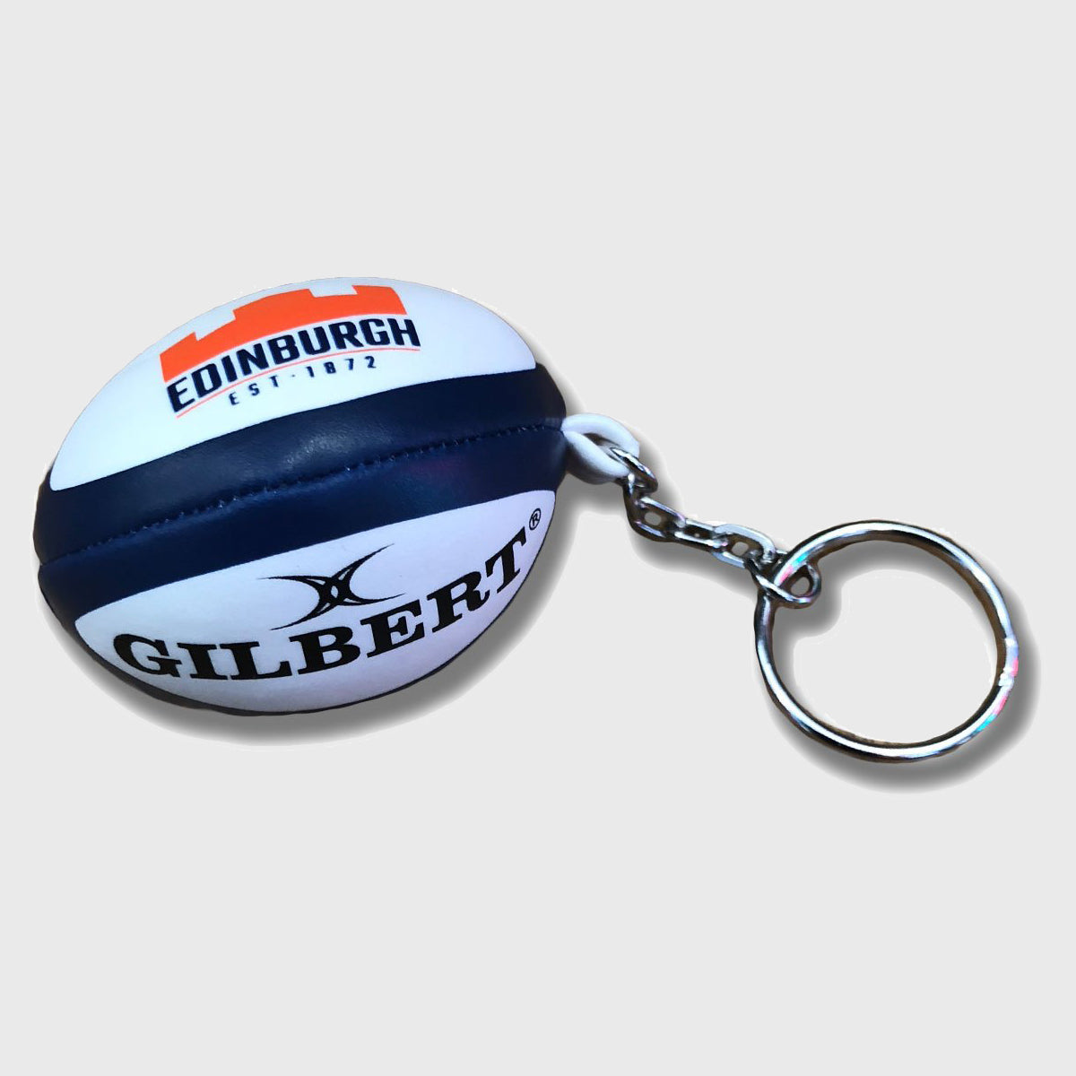 Edinburgh Replica Rugby Ball Keyring White/Navy/Orange - First XV rugbystuff.com