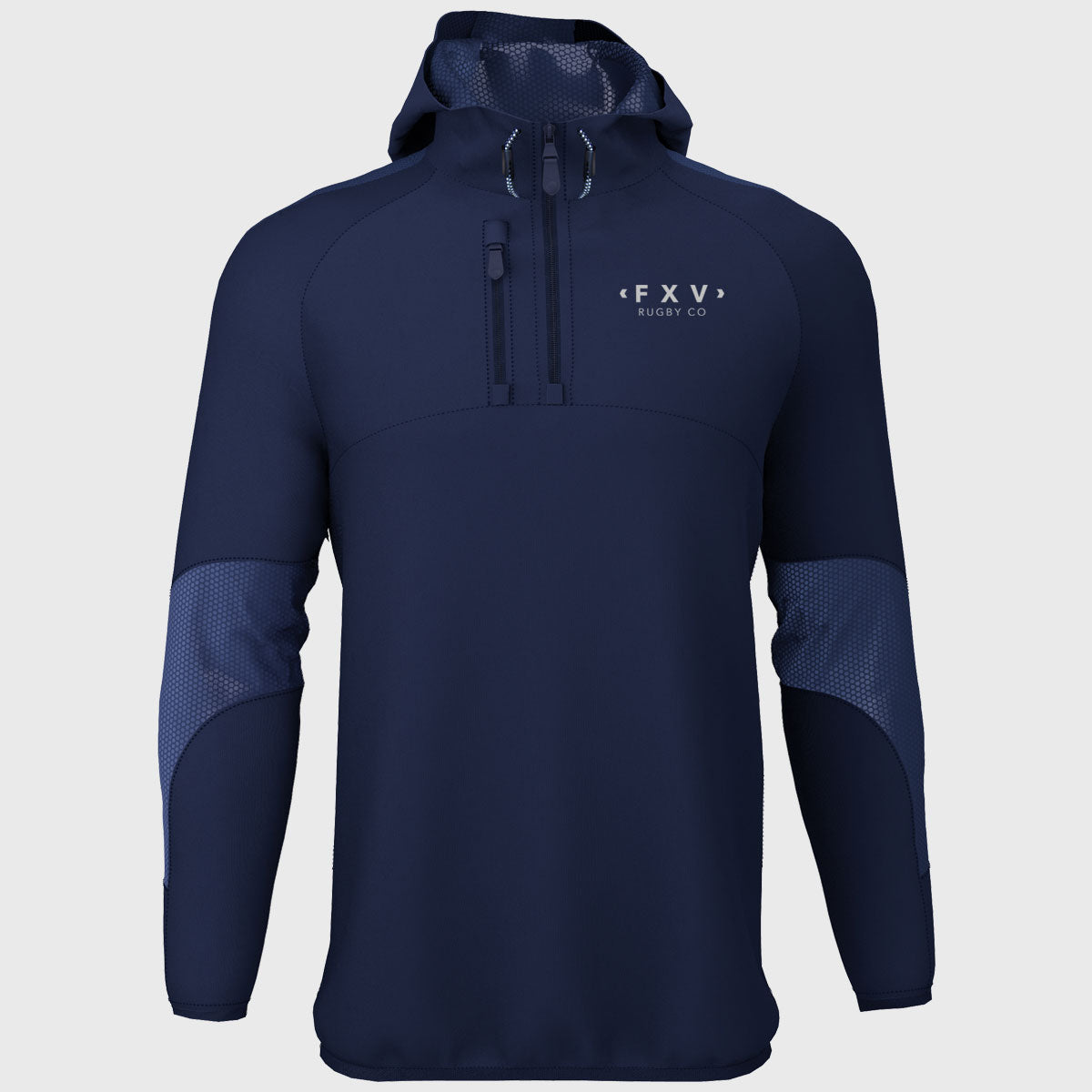 1/4 Zip Hooded Jacket Navy - First XV rugbystuff.com