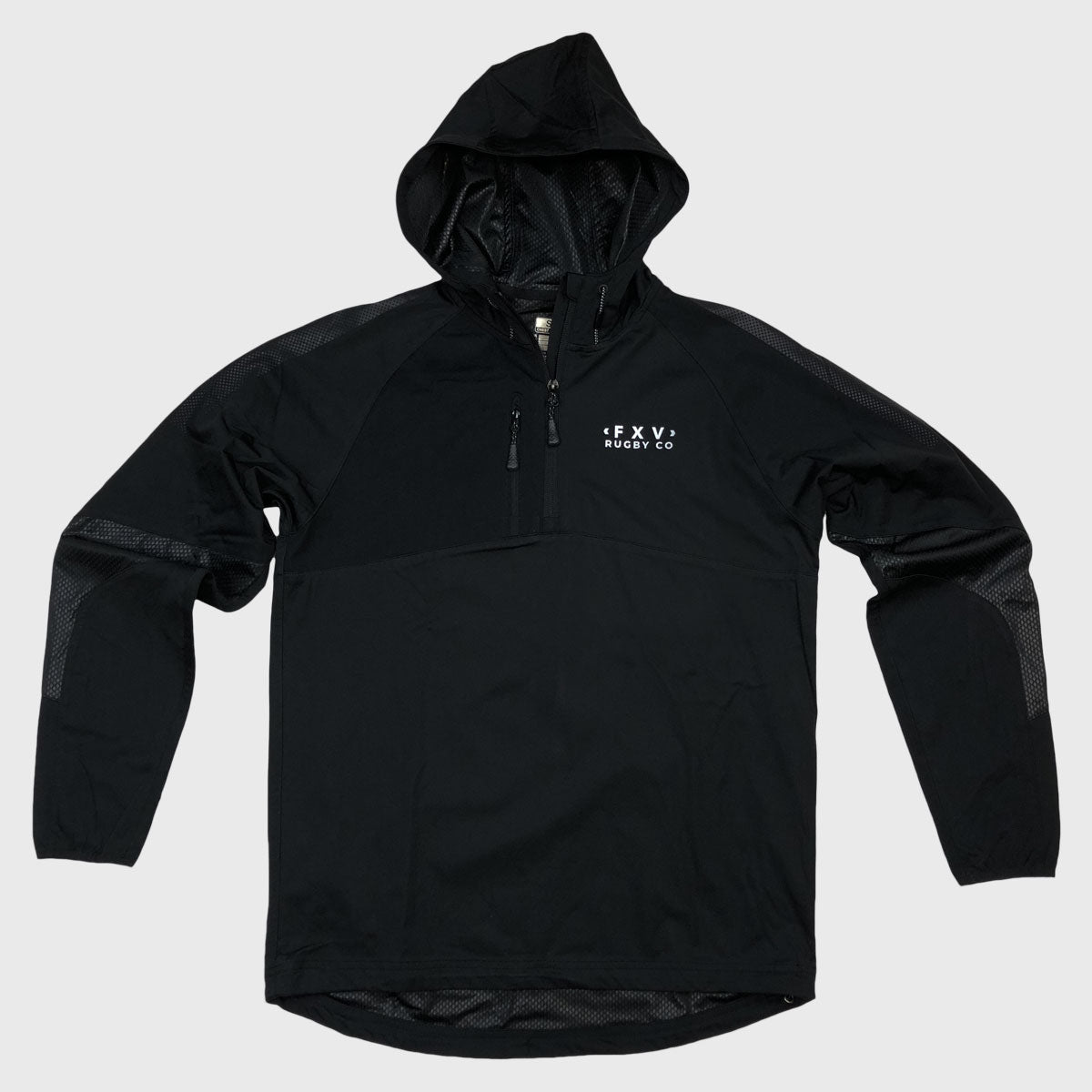 1/4 Zip Hooded Jacket Black