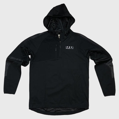 1/4 Zip Hooded Jacket Black - First XV rugbystuff.com