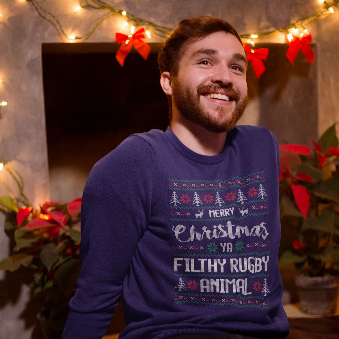 Unisex Merry Christmas Ya Filthy Rugby Animal Jumper - First XV rugbystuff.com