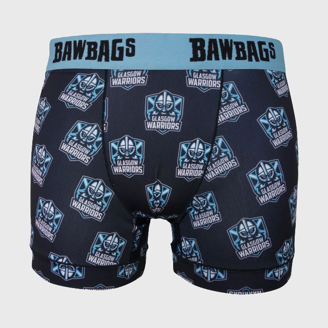 Glasgow Warriors Rugby Cool De Sacs Logo Boxer Shorts Black - First XV rugbystuff.com