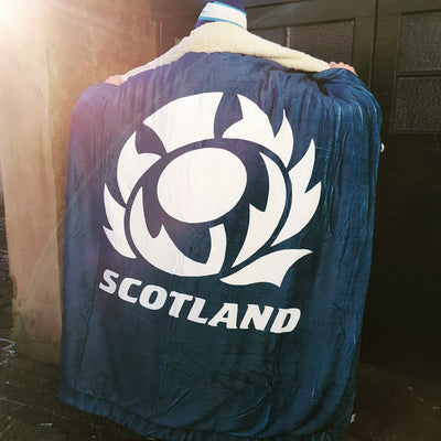Scotland Rugby Blanket Navy/White