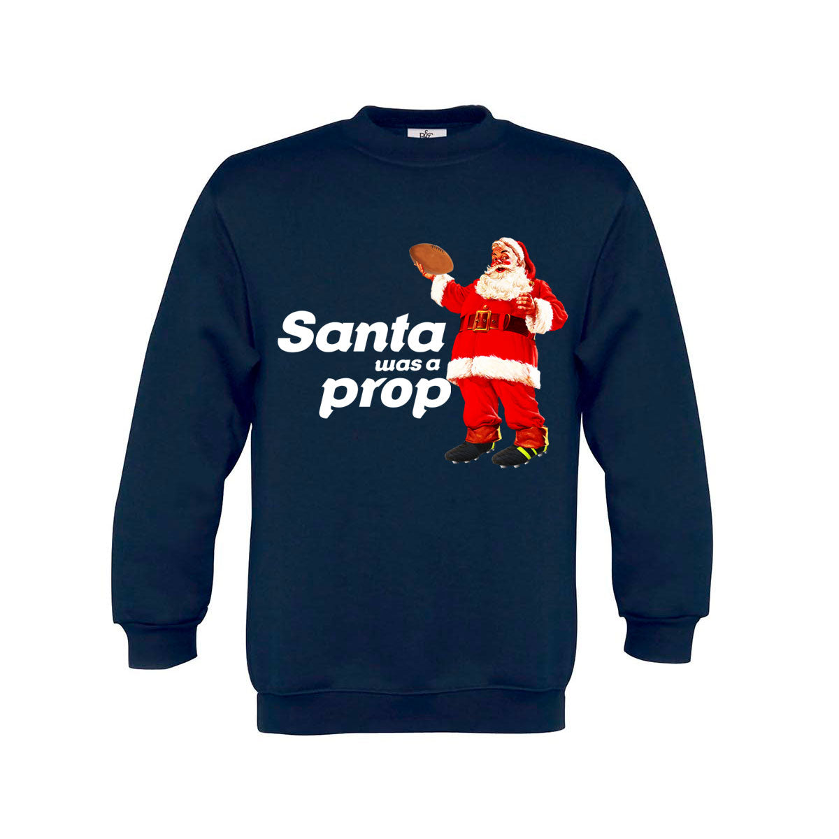 Kid's Santa Was A Prop Rugby Christmas Jumper - First XV rugbystuff.com