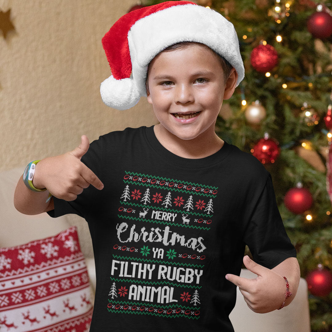 Kid's Merry Christmas Ya Filthy Rugby Animal Tee