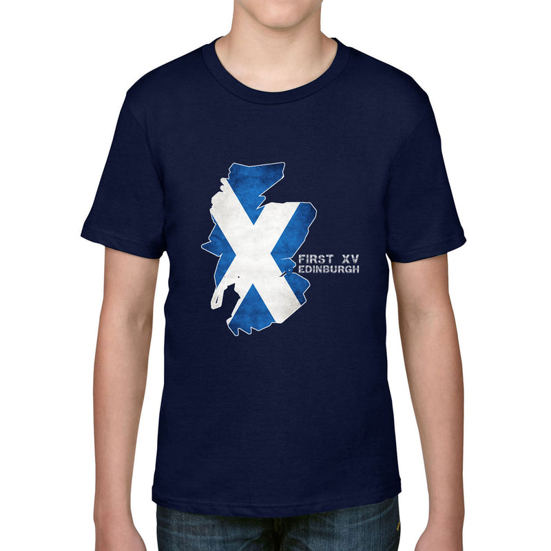 Kid's First XV, Edinburgh, Scotland Map Tee