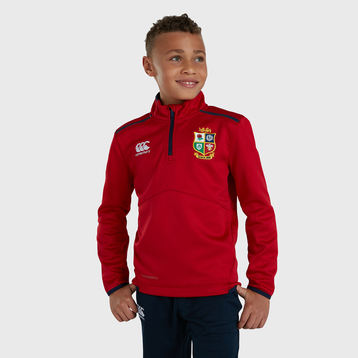British & Irish Lions SA 2021 Kid's Thermoreg 1/4 Zip Thermal Layer Red