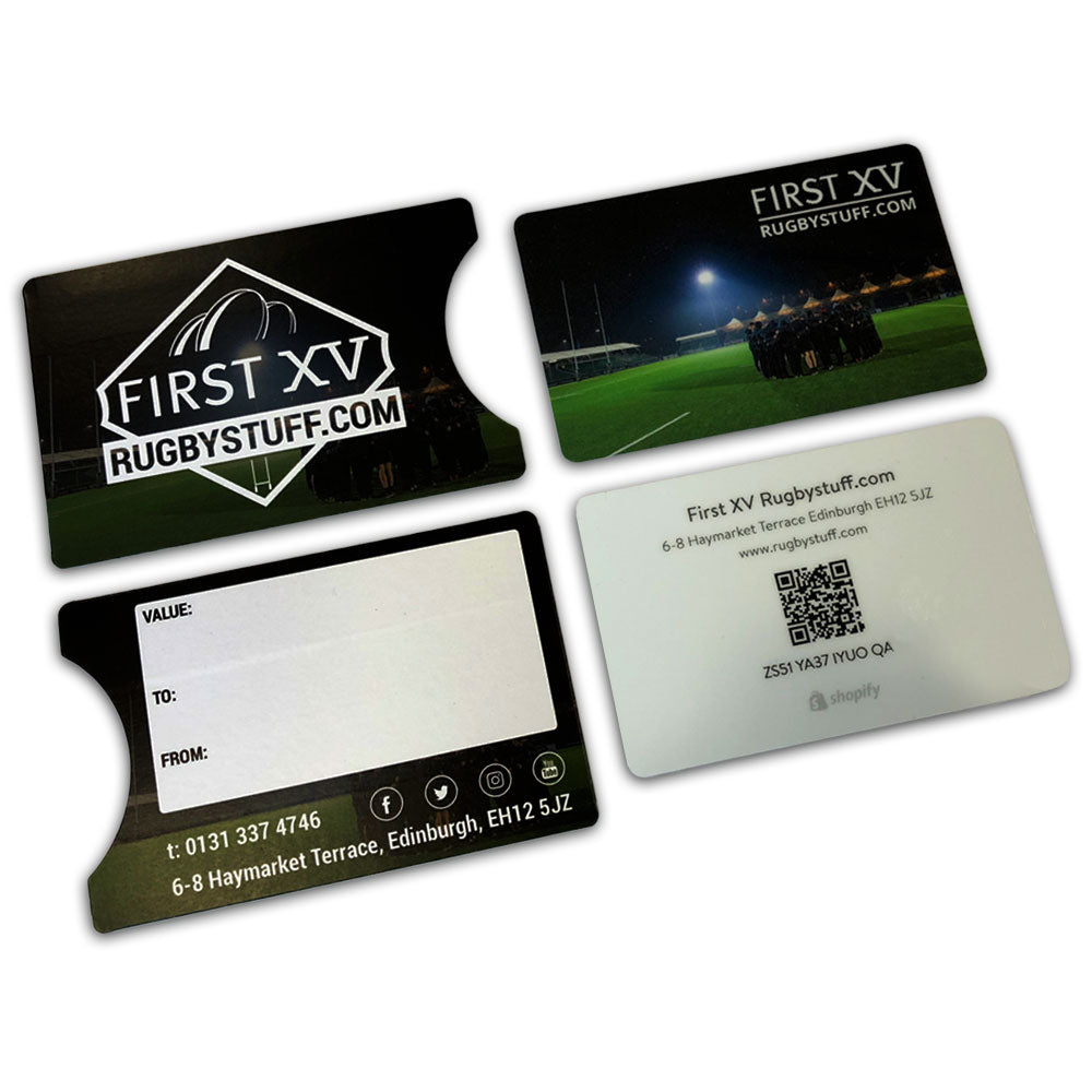 Physical Gift Cards - By post - First XV rugbystuff.com