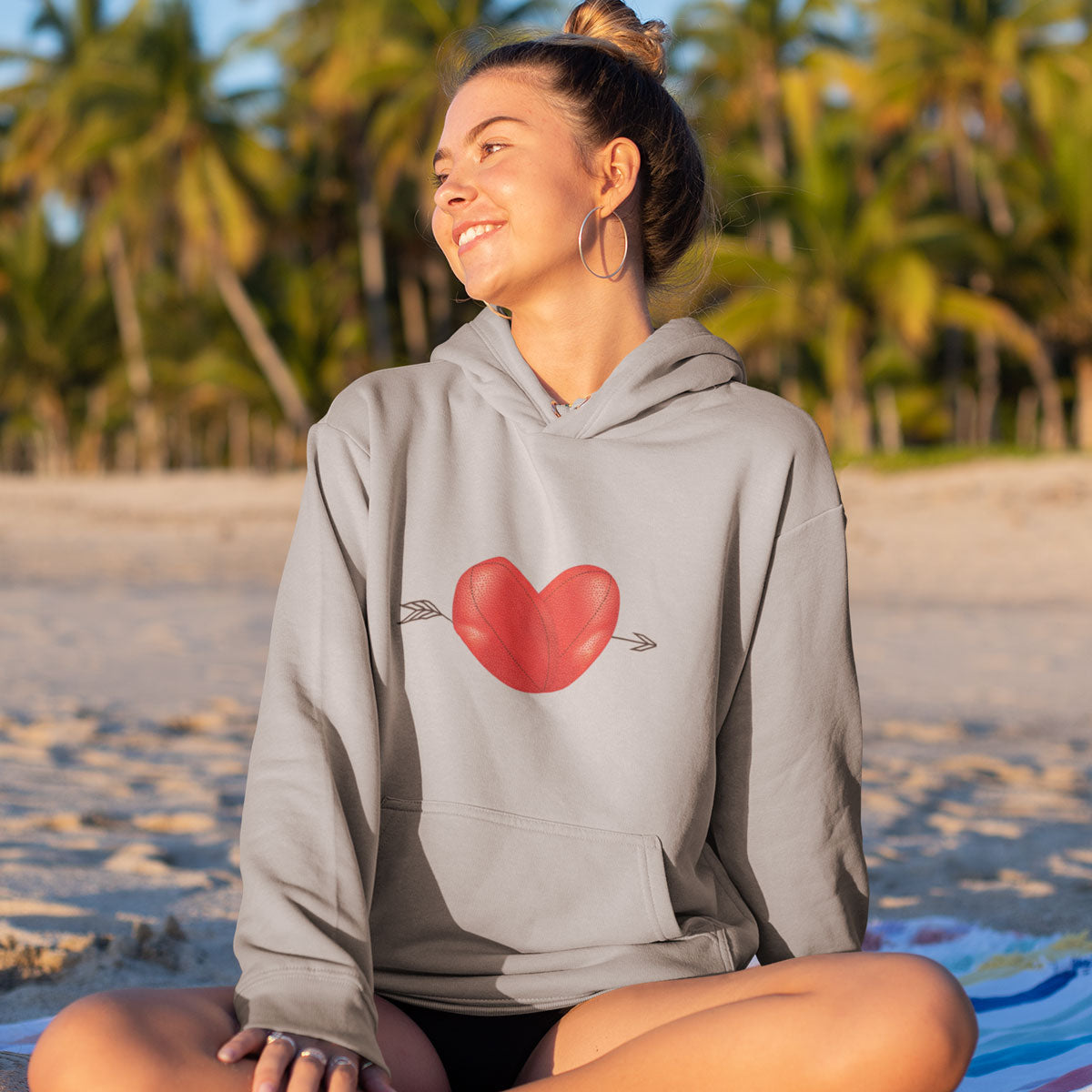 Unisex Rugby Ball Heart Hoody