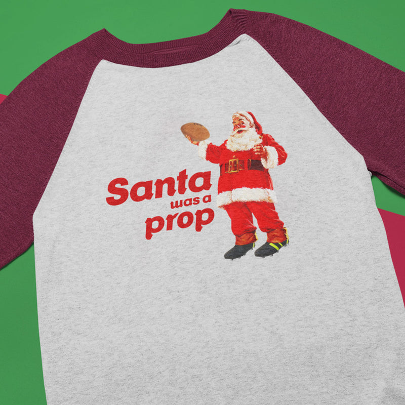 Santa Was A Prop Rugby Christmas Baseball Jumper