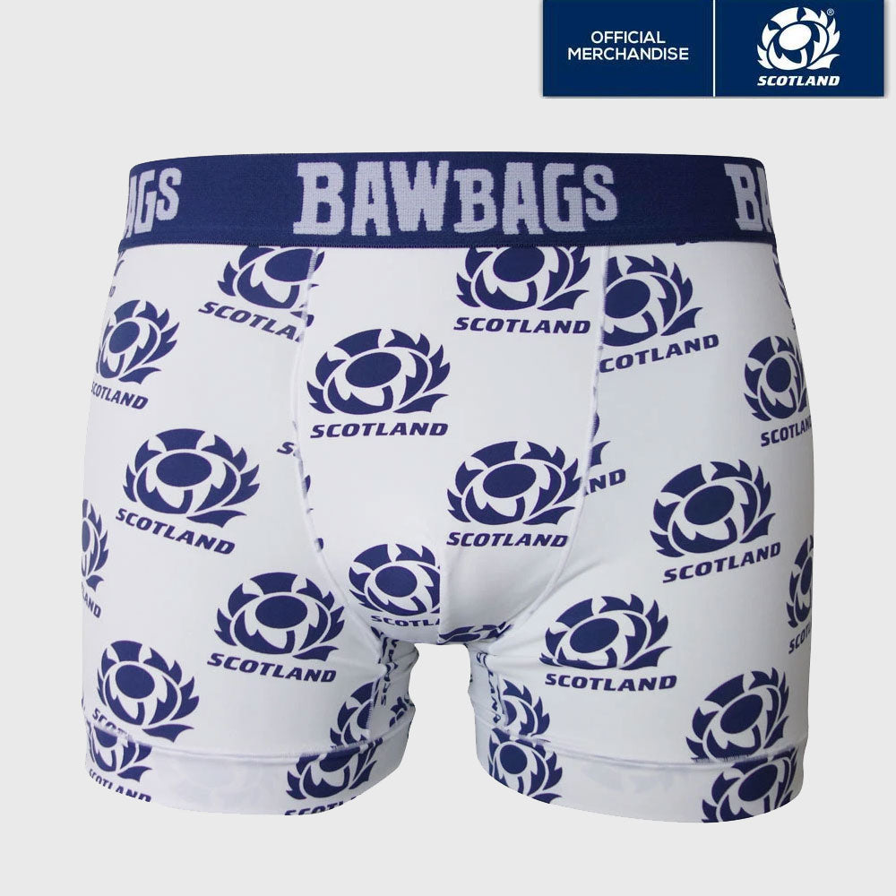 Scotland Rugby Cool De Sacs Away Boxer Shorts White/Navy - First XV rugbystuff.com