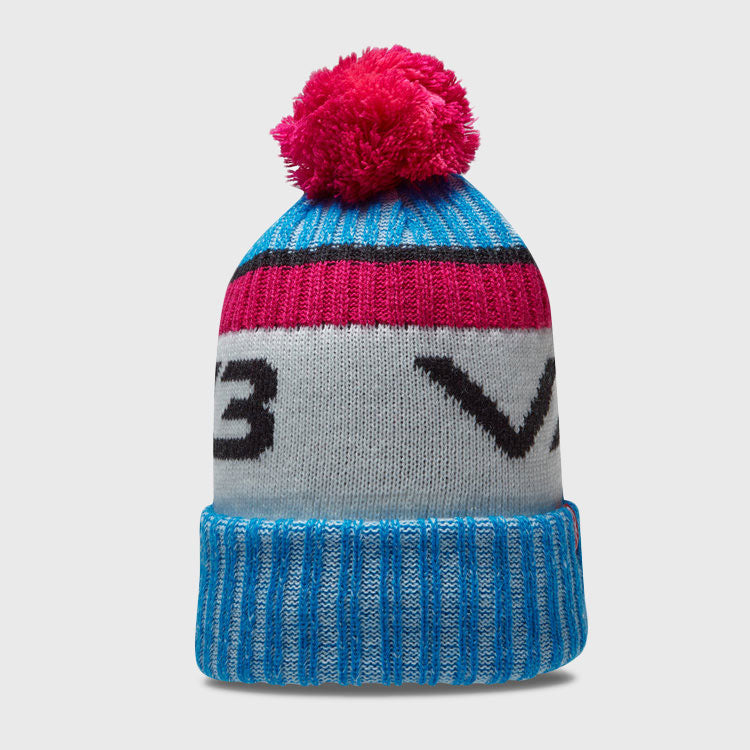 Fleece Lined Marl Bobble Beanie Hat Blue/White/Pink
