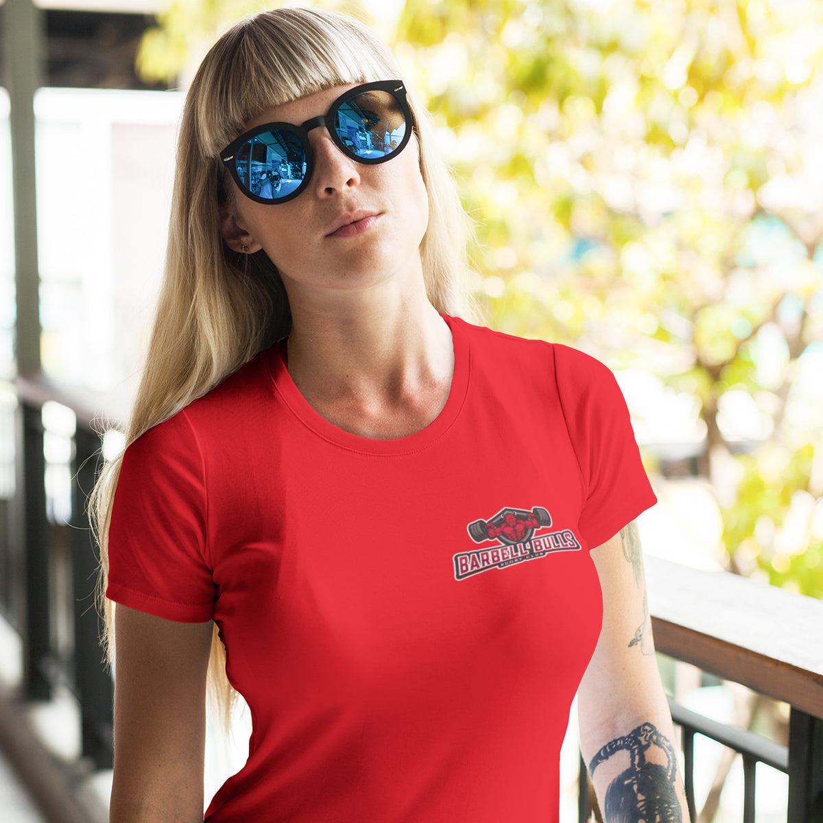 Women's Barbell Bulls Small Logo Tee