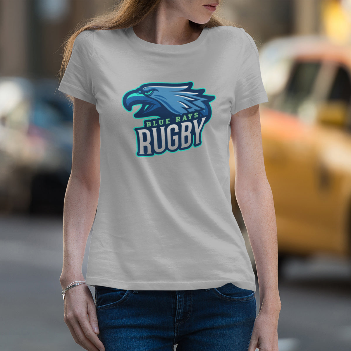 Women's Blue Rays Rugby Big Logo Tee