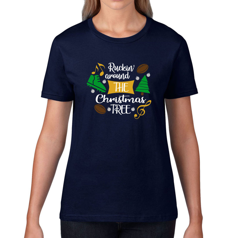 Women's Ruckin' Around The Christmas Tree Rugby Tee