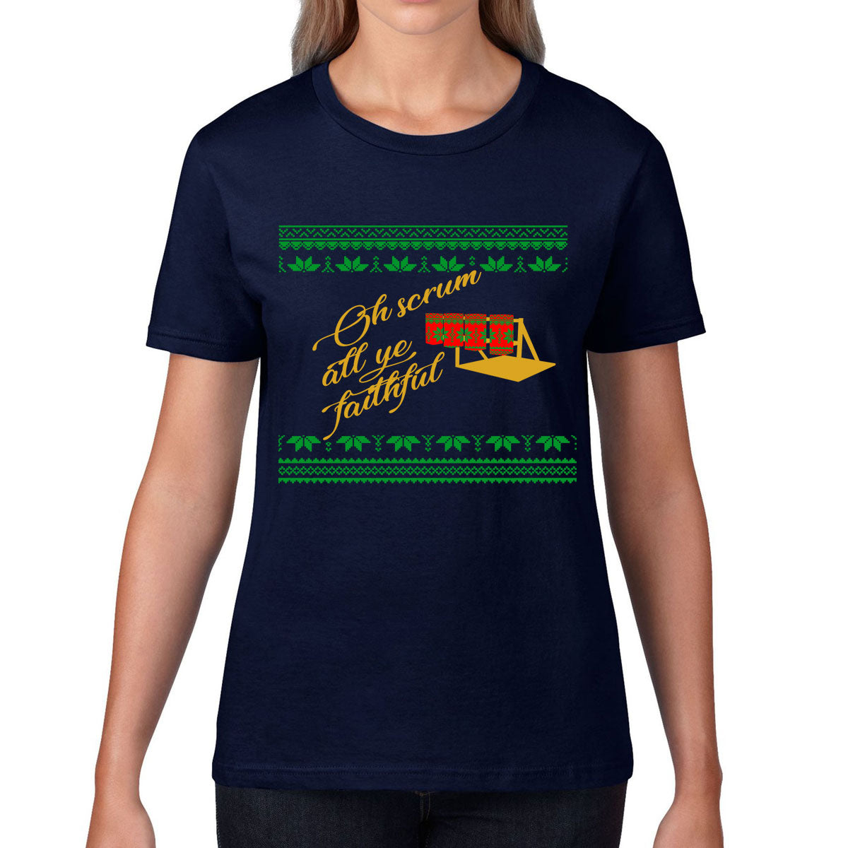 Women's Scrum All Ye Faithful Rugby Christmas Tee - First XV rugbystuff.com