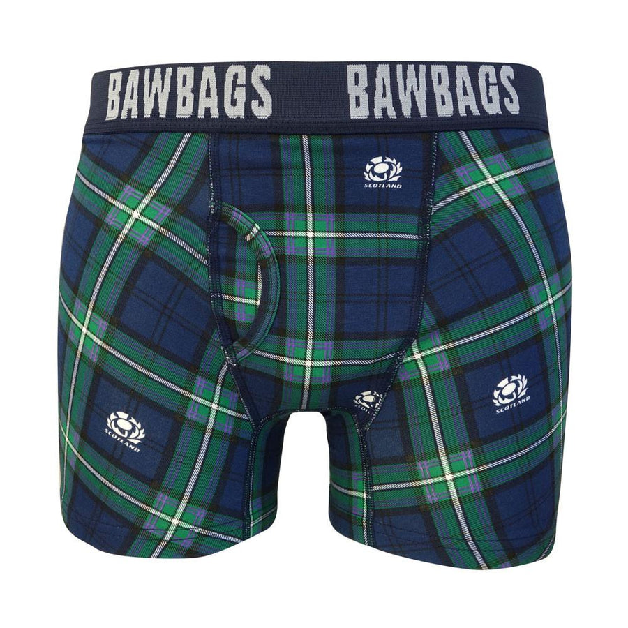 Scotland Rugby Kid's Tartan Boxer Shorts Navy/Green
