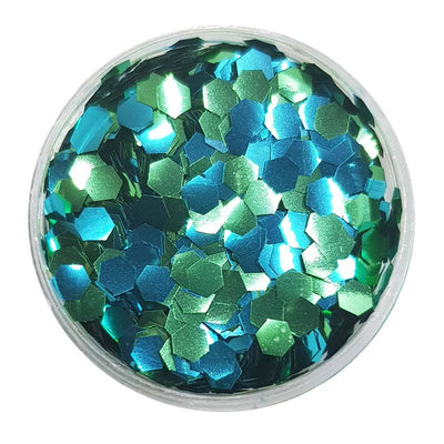 MUOBU Biodegradable Blue & Green Glitter (Chunky Hexagon Metallic Glitter) - BioAquarelle - MUOBU