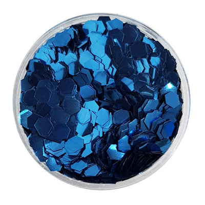 MUOBU Biodegradable Deep Blue Glitter (Chunky Hexagon Metallic Glitter) - BioDeep Blue Sea - MUOBU