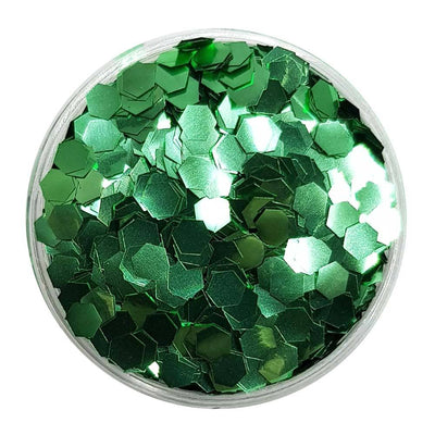 MUOBU Biodegradable Green Glitter (Chunky Hexagon Metallic Glitter) - BioLeaves - MUOBU