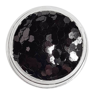 MUOBU Black Chunky Glitter (Metallic Glitter Mini Hexagons) - Little Black Dress - MUOBU