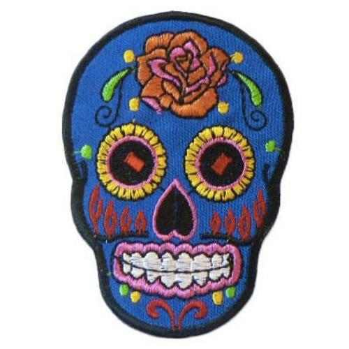 MUOBU Blue Sugar Skull Iron-On Festival Patch - MUOBU
